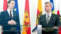 Ex-Partner auf Entfremdungskurs: ÖVP-Chef Kurz (li.), FPÖ-Chef Hofer (Bild: APA)