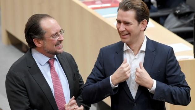 Außenminister Alexander Schallenberg und Kanzler Sebastian Kurz (Bild: APA/Roland Schlager)