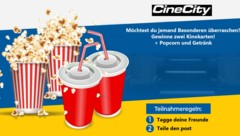 Nutzer werden mit kostenlosen Kinokarten gelockt. (Bild: CineCity/Facebook)