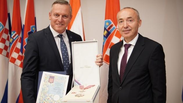 Der ehemalige österreichische Verteidigungsminister Mario Kunasek und der kroatische Verteidigungsminister Damir Krsticevic (Bild: Kurat)