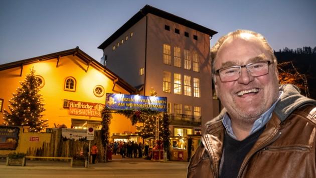 Matthäus Leitner öffnet seinen Halleiner Weihnachtsmarkt jeweils von Freitag bis Sonntag. (Bild: Doringer/Krone)