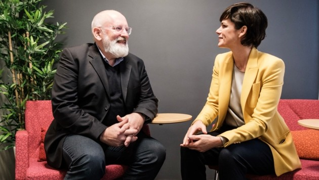 SPÖ-Chefin Pamela Rendi-Wagner im Gespräch mit dem künftigen EU-Klimakommissar Frans Timmermans (Bild: SPÖ/Visnjic)