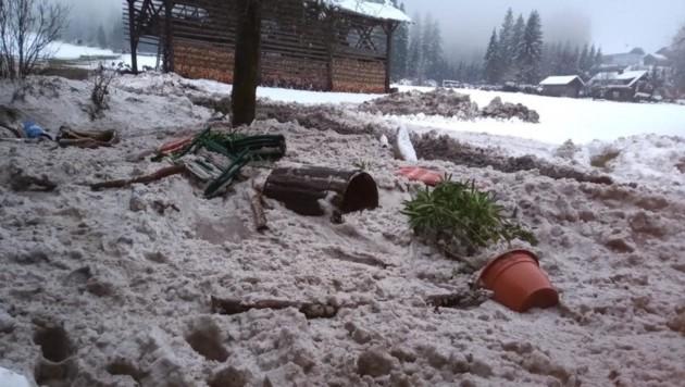 Die Nassschneelawine beschädigte ein Anwesen in Grimnitzen (Bild: Ewald Tiefenbacher)