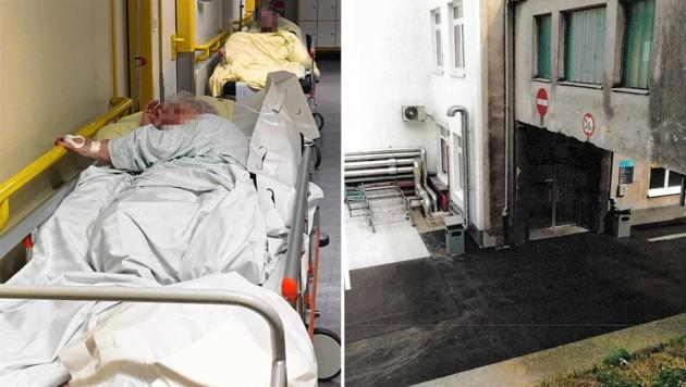 Gangbetten und baufällige Spitalsgebäude: Nur zwei der zahlreichen Probleme im Wiener Gesundheitswesen (Bild: zVg, krone.at-Grafik)