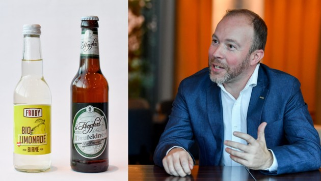 Alois Meir lässt neben vier Biersorten nun auch Limonade abfüllen. (Bild: Harald Dostal (2))