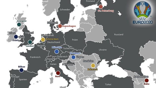 Die über ganz Europa und darüber hinaus verstreuten Ausrichterstädte für die EURO 2020 (Bild: Kronen Zeitung)
