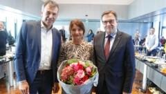 BM Georg Willi (links), Uschi Schwarzl und LH Günther Platter (Bild: Christof Birbaumer / Kronenzeitung)