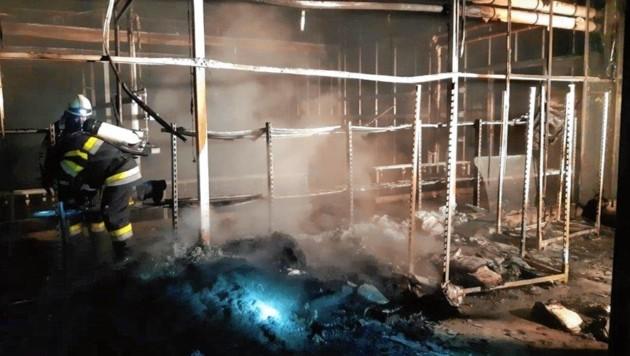 Unbekannte Täter legten auf dem Areal der Gärtnerei Feuer (Bild: BFV Feldbach)
