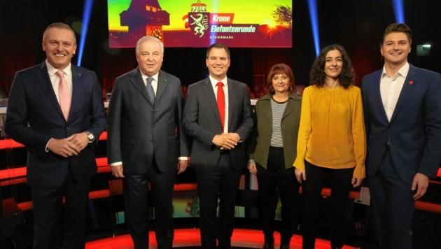Die Spitzenkandidaten für die steirischen Landtagswahl: Mario Kunasek, Hermann Schützenhöfer, Michael Schickhofer, Claudia Klimt-Weithaler, Sandra Krautwaschl und Niko Swatek (von links). (Bild: Klemens Groh)