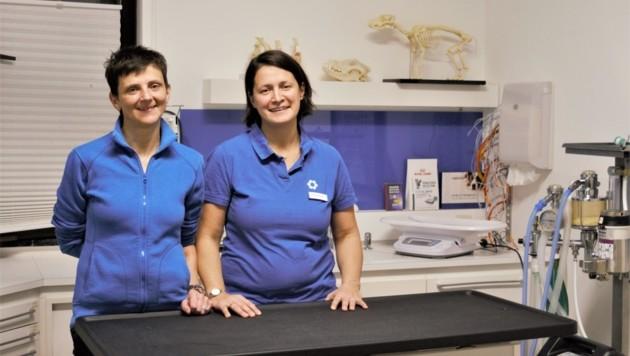 Die Tierärztinnen Veronika Lutsch-Niederkofler und Barbara Rainer halfen Diego (Bild: Christoph Laible)