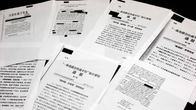 Ein kleiner Teil der nun geleakten chinesischen Geheimpapiere (Bild: AP)