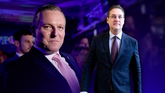 Mario Kunasek erlitt eine Wahlschlappe - die Schuld gibt man (auch) dem ehemaligen FPÖ-Obmann Heinz-Christian Strache. (Bild: AP/Ronald Zak, APA/GEORG HOCHMUTH, krone.at-Grafik)