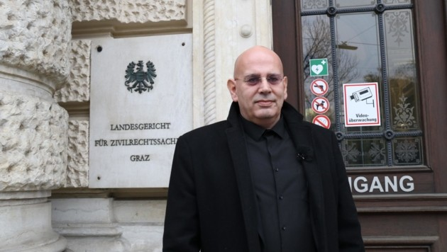 Missbrauchsopfer Walfried Janka vor dem Gerichtstermin in Graz (Bild: Jauschowetz Christian)