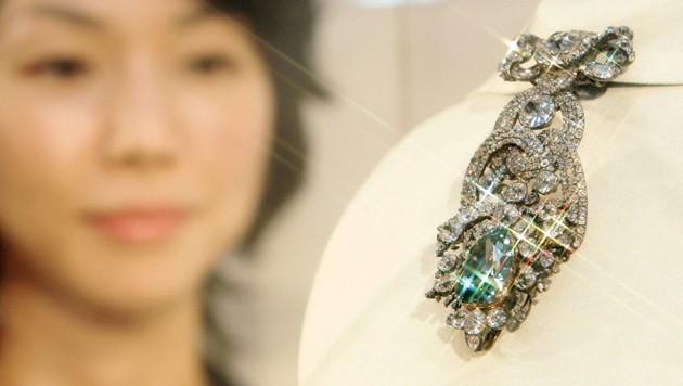 Der Dresdner Grüne Diamant bei einer Ausstellung in Japan im September 2005