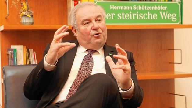 Landeshauptmann Hermann Schützenhöfer im Krone-Interview. (Bild: Jürgen Radspieler)