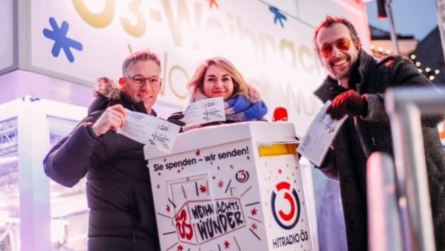 Andi Knoll, Gabi Hiller und Robert Kratky werden aus Villach Senden (Bild: Hitradio Ö3/Martin Krachler)