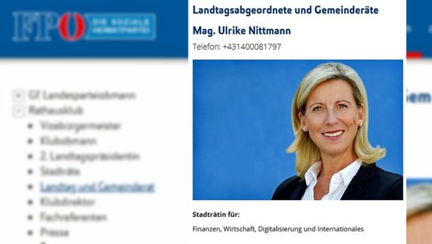 Ulrike Nittmann ist eigentlich gar nicht Wiens Finanzstadträtin. (Bild: Screenshot fpoe-wien.at, krone.at-Grafik)