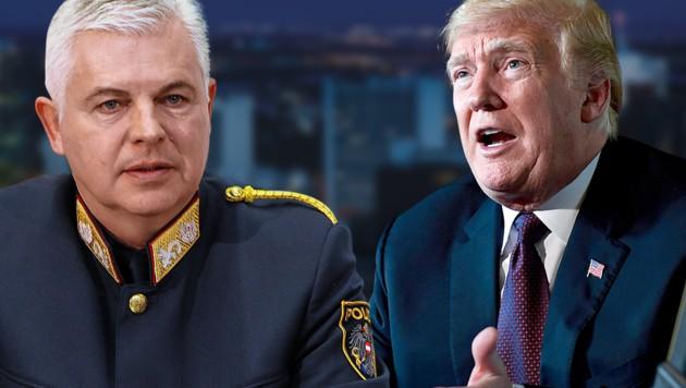 Alexander Gaisch, Donald Trump (Bild: Juergen Radspieler, AP, krone.tv, krone.at-Grafik)