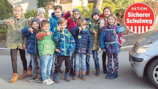 Schüler und Schülerinnen aus Salzburg-Taxham kämpfen für einen Zebrastreifen. (Bild: Susi Berger)