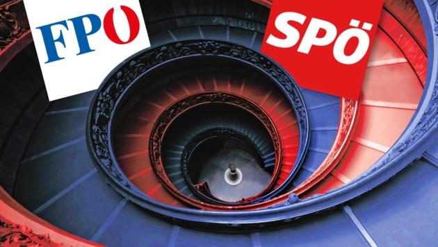 (Bild: stock.adobe.com, SPÖ, FPÖ, krone.at-Grafik)