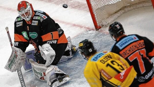 99ers-Goalie Oliver Dackell feierte in Wien im zweiten Drittel Debüt. Heute steht er gegen Leader Salzburg vom Start weg am Eis. (Bild: GEPA pictures)