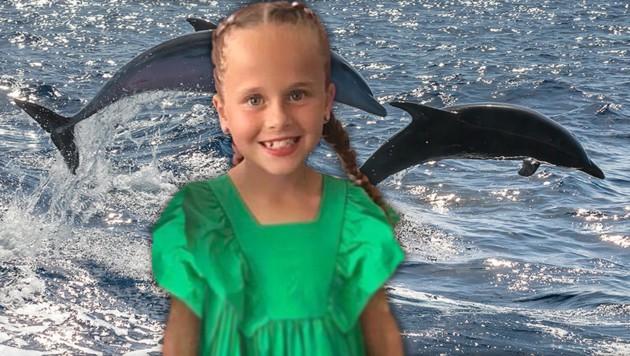 Die zehnjährige Lexi wurde beim Schwimmen mit Delfinen von den Meeressäugern angegriffen und verletzt. (Bild: stock.adobe.com, facebook.com/laurajanelewis, krone.at-Grafik)