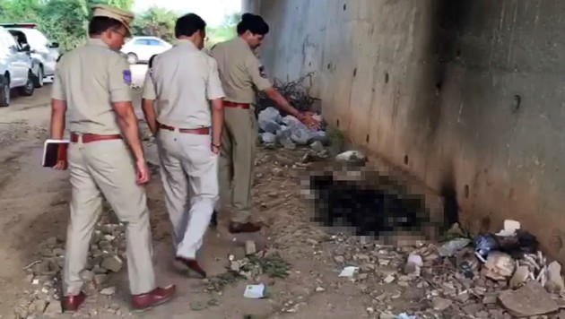 Polizisten untersuchen den Fundort der verbrannten Frauenleiche. (Bild: AP, krone.at-Grafik)
