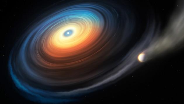 Diese Illustration zeigt den Weißen Zwerg WDJ0914+1914 und seinen Neptun-ähnlichen Exoplaneten (rechts) (Bild: ESO/M. Kornmesser)