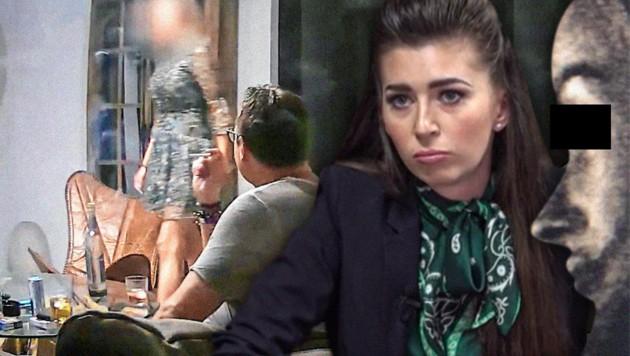 Society-Girl und Maklerin Irena Markovic (2.v.r.) filmte den schönen Ibiza-Lockvogel (ganz rechts) heimlich. (Bild: Puls 24, zVg, krone.at-Grafik)