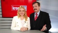 Raphaela Scharf im Talk mit Werner Gruber (Bild: krone.tv)