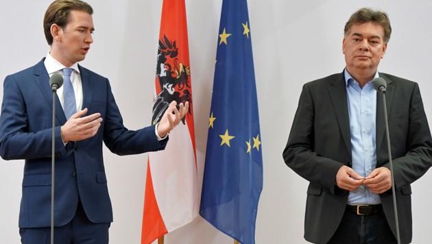 Sebastian Kurz und Werner Kogler (Bild: APA/GEORG HOCHMUTH)