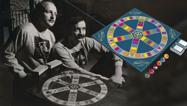 Der Sportreporter Scott Abbott (rechts im Bild) und Bildredakteur Chris Haney erfanden vor 40 Jahren das Kultspiel Trivial Pursuit. (Bild: AP, Library Canada Archives, krone.at-Grafik)