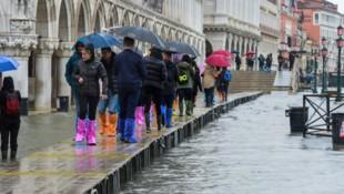 Hochwasser: Ein Bild aus Venedig vom 24. November 2019. (Bild: AFP)