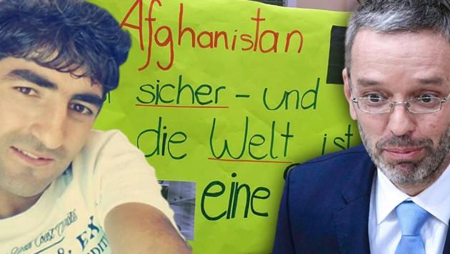 Empört reagiert FPÖ-Klubobmann Herbert Kickl auf die Aussetzung der Abschiebung des 22-jährigen Afghanen Ziaulrahman Zaland. (Bild: Zia Zaland, Flüchtlingshilfe Langenlois/Anita Stemberger-Chabek, APA/GEORG HOCHMUTH)