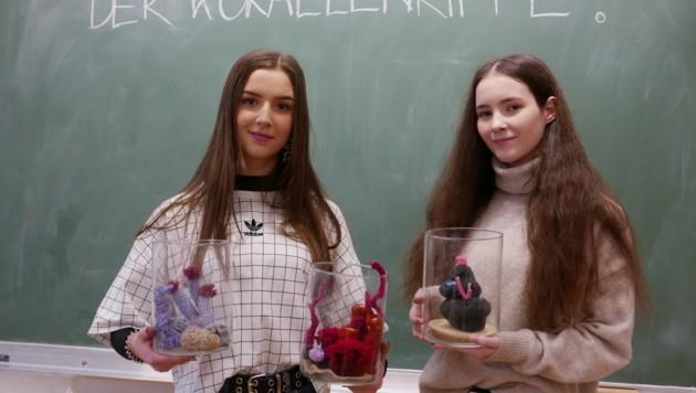 Korallen handgemacht! Karla Erl, Helena Egger (v. li.) und Klassenkolleginnen häkelten für den ersten Klimaaktionstag an der Linzer HBLA für künstlerische Gestaltung farbenfrohe Meeresriffe. (Bild: LiveBild)