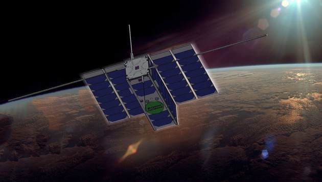 Künstlerische Illustration: Der Nanosatellit OPS-SAT kreist in einer Höhe von 515 Kilometern um die Erde. (Bild: ESA/ATG medialab)