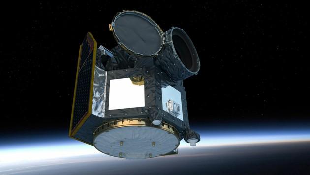 Künstlerische Darstellung: Das Weltraumteleskop CHEOPS im All (Bild: ESA/ATG medialab)