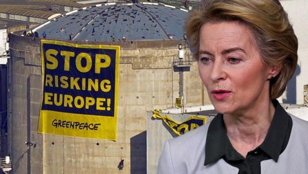 EU-Kommissionspräsidentin Ursula von der Leyen will Europa bis 2050 klimaneutral machen. Welche Rolle wird dabei die Atomkraft spielen? (Bild: AFP, AP, krone.at-Grafik)