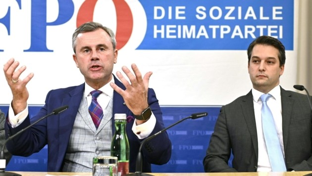 Norbert Hofer und Dominik Nepp (Bild: APA/HERBERT NEUBAUER)