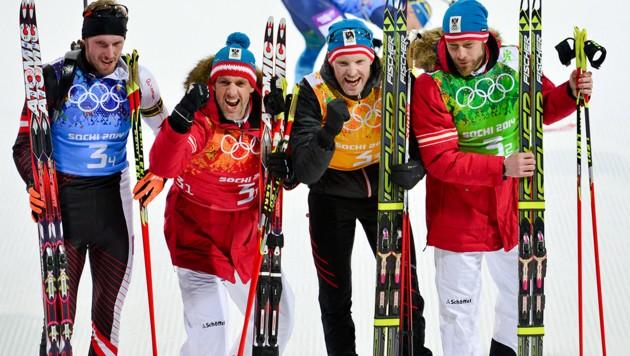 Dominik Landertinger, Christoph Sumann, Simon Eder und Daniel Mesotitsch (von li. nach re.) (Bild: GEPA)