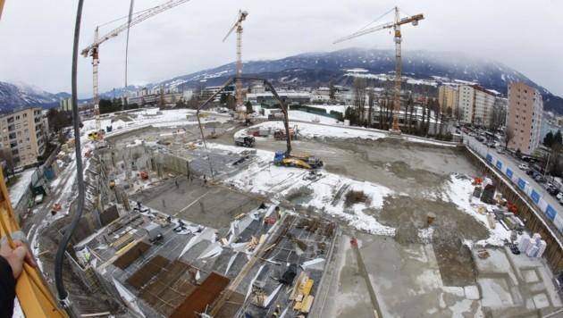 Übersichtsbild des Baugrunds der ehemaligen Sportanlage der Campagnereiter in Innsbruck. (Bild: Birbaumer Christof)
