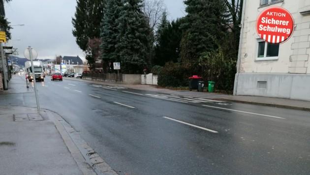 Hauptverkehrsader Vogelweiderstraße: Zebrastreifen fehlt (Bild: zVg)