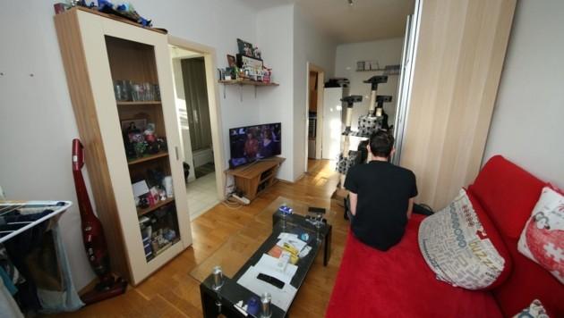Mehr Platz ist nicht: Das ist die ganze Wohnung von Patrick N. (Bild: Klemens Groh)