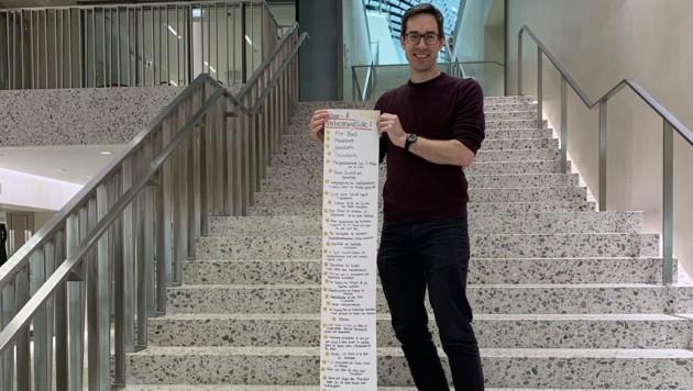 Die drei Meter lange Wunschliste ans Christkind: Mit 77 Punkten zu einem besseren Badeerlebnis. (Bild: Magdalena Mistlberger)