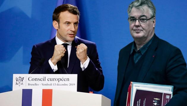 Präsident Emmanuel Macron musste den Rücktritt seines Pensionsreform-Beauftragten Jean-Paul Delevoye zur Kenntnis nehmen. (Bild: AP, APA/AFP/Philippe LOPEZ, krone.at-Grafik)