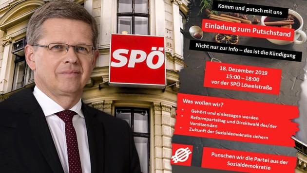 """Die roten Rebellen schießen sich weiter auf Bundesgeschäftsführer Christian Deutsch ein. Rechts: die Ankündigung des """"Putsch-Punsches"""". Ob viele Gäste kommen, ist aber fraglich. (Bild: APA/SPÖ/HENISCH, APA/HERBERT NEUBAUER, SPÖ, krone.at-Grafik)"""