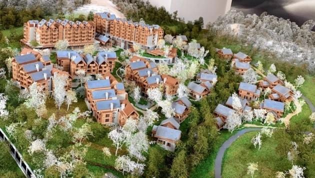 Ein Luxus-Resort mit 80 Einheiten, 14 Chalets und 50 Wohnungen entsteht am Pass Thurn. (Bild: Kitzbüheler Alps Projekt GmbH)