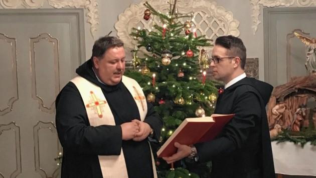 Pater Egon bei der Weihnachtsfeier im Konvent von Admont (Bild: Stift Admont)