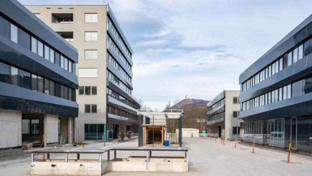 Blick auf den Wissenspark: Der Bau geht jetzt zügig voran (Bild: Franz Neumayr)