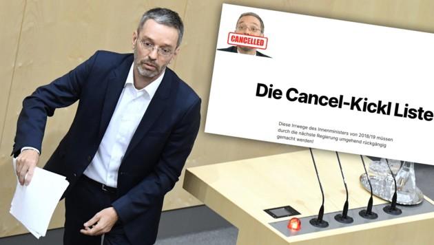 (Bild: APA/ROBERT JAEGER; cancel-kickl.info; krone.at-Grafik)